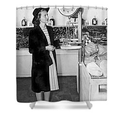 Woman Weighing Vegetables Shower Curtain by Underwood Archives