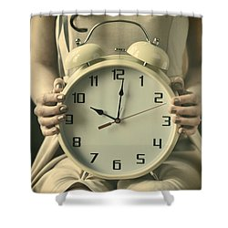 Woman With Clock Shower Curtain