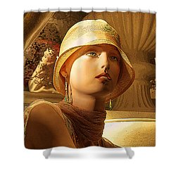Woman With Hat - Chuck Staley Shower Curtain by Chuck Staley