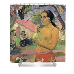 Woman With Mango Shower Curtain by Paul Gauguin