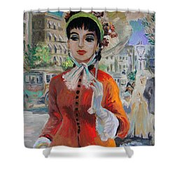 Woman With Parasol In Paris Shower Curtain