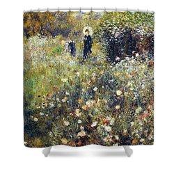 Woman With Umbrella In Garden Shower Curtain by Pierre-Auguste Renoir