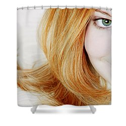 Womans Face Shower Curtain by Darren Greenwood