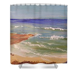 Shower Curtain featuring the painting Wombarra Beach by Pamela  Meredith
