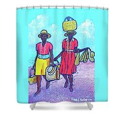 Women On Beach At Grenada Shower Curtain by Frank Hunter