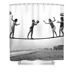 Women Play Beach Basketball Shower Curtain by Underwood Archives