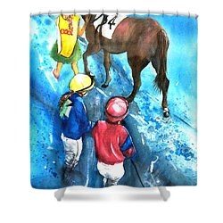 Giddy Up Girls Shower Curtain by Therese Alcorn