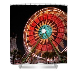 Wonder Wheel - Slow Shutter Shower Curtain by Al Powell Photography USA
