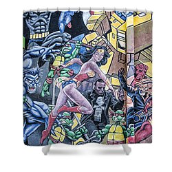 Shower Curtain featuring the mixed media Wonder Woman Abstract by Terry Rowe