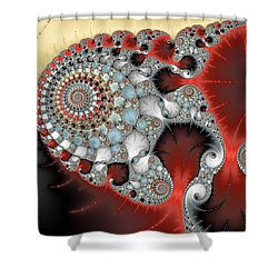 Wonderful Abstract Fractal Spirals Red Grey Yellow And Light Blue Shower Curtain