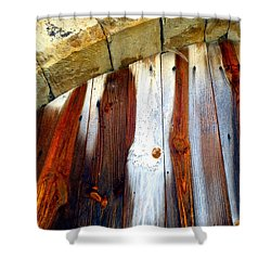 Wood And Stone Shower Curtain by Lauren Leigh Hunter Fine Art Photography