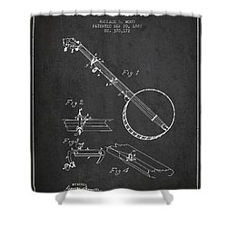 Wood Banjo Patent Drawing From 1887 - Dark Shower Curtain