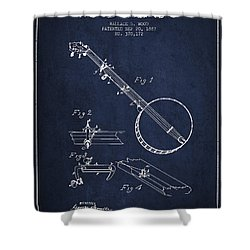 Wood Banjo Patent Drawing From 1887 - Navy Blue Shower Curtain