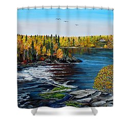 Shower Curtain featuring the painting Wood Falls  by Marilyn  McNish