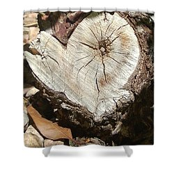 Wood Heart Shower Curtain