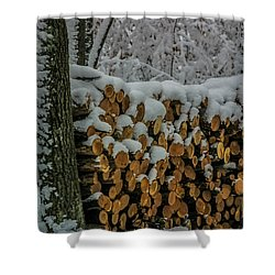 Wood Pile Shower Curtain by Paul Freidlund