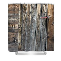 Shower Curtain featuring the photograph Wood Shed Door by Ann E Robson
