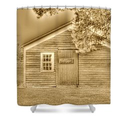 Wood Shop Shower Curtain by Kathleen Struckle