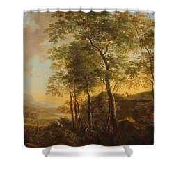 Wooded Hillside With A Vista Shower Curtain by Jan Both