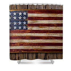 Wooden American Flag On Wood Wall Shower Curtain by Garry Gay