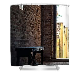 Wooden Bench Shower Curtain