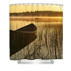Wooden Boat Shower Curtain