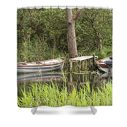 Wooden Boats Shower Curtain by Jeremy Voisey