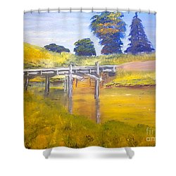 Shower Curtain featuring the painting Wooden Bridge At Graften by Pamela  Meredith