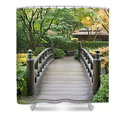 Shower Curtain featuring the photograph Wooden Foot Bridge In Japanese Garden by JPLDesigns