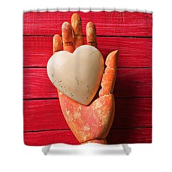 Wooden Hand With White Heart Shower Curtain by Garry Gay