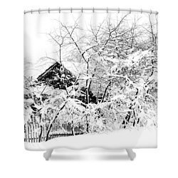 Wooden House After Heavy Snowfall. Russia Shower Curtain