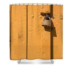 Wooden Plank Door Steel Lock Shower Curtain