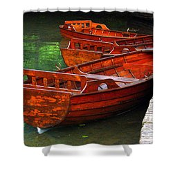 Wooden Rowboats Shower Curtain by Ramona Johnston