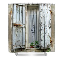 Wooden Shutters In Urbino Shower Curtain by Jennie Breeze