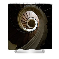 Wooden Spiral Shower Curtain by Jaroslaw Blaminsky