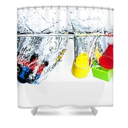 Wooden Toys In Water Shower Curtain by Mike Santis