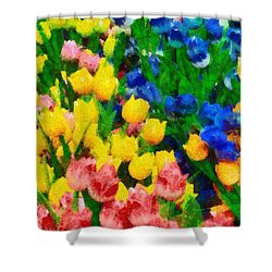 Wooden Tulips In Amsterdam Shower Curtain by George Atsametakis