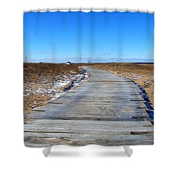 Plum Island Shower Curtain by Eunice Miller