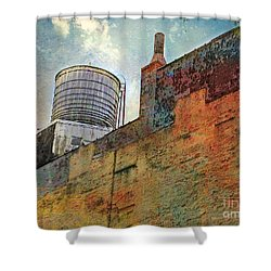 Wooden Water Tower New York City Roof Top Shower Curtain