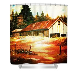 Woodland Barn In Autumn Shower Curtain