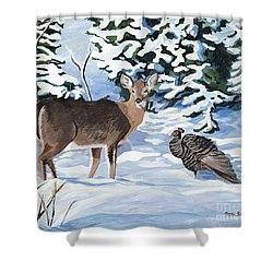 Woodland Creatures Meet Shower Curtain