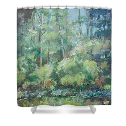 Woodland Pond Shower Curtain by Sarah Parks