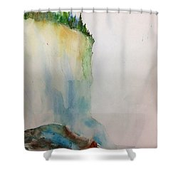 Woodland Trees On A Cliff Edge Shower Curtain