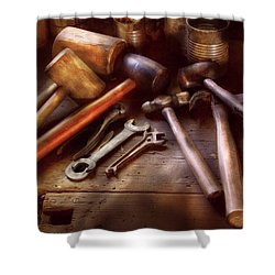 Woodworker - A Collection Of Hammers  Shower Curtain by Mike Savad