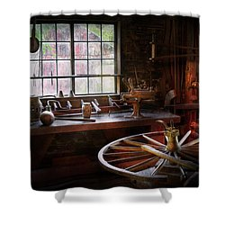 Woodworker - The Wheelwright Shop  Shower Curtain by Mike Savad