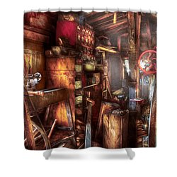 Woodworker - The Workshop Of A Very Busy Person Shower Curtain by Mike Savad