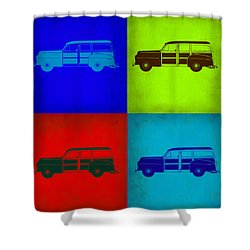 Woody Wagon Pop Art 1 Shower Curtain by Naxart Studio