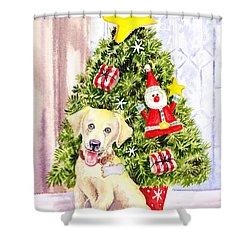 Woof Merry Christmas Shower Curtain by Irina Sztukowski
