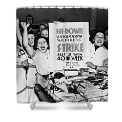 Woolworth Workers Strike Shower Curtain by Underwood Archives