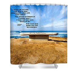 Words Above The Bench Shower Curtain by Joseph S Giacalone
